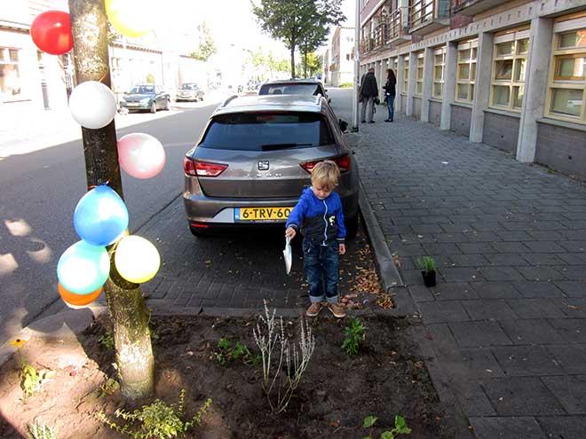 Het eerste plantje werd onder de boom gezet door de jongste deelnemer.
