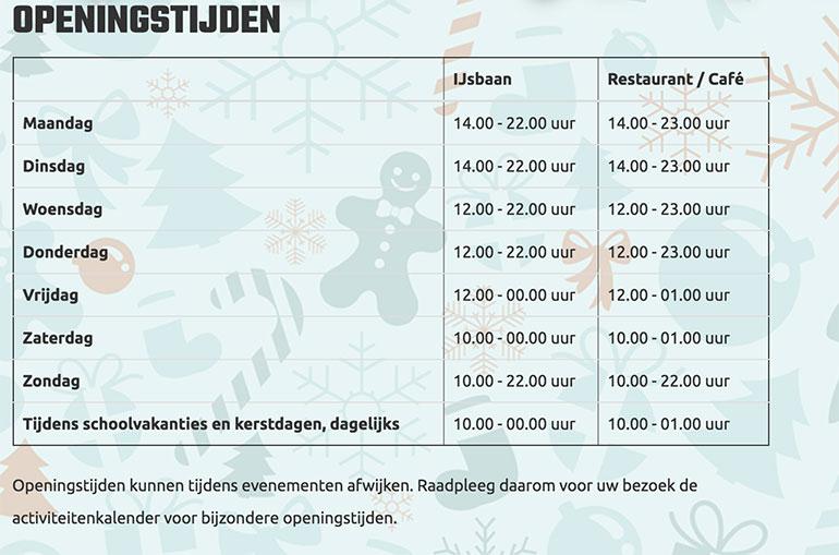 WinterWorld Zwolle openingstijden
